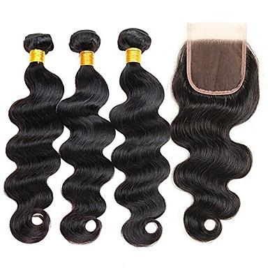 4 zestawy Włosy indyjskie Body wave Włosy naturalne remy Fale w naturalnym kolorze Ludzkie włosy wyplata Ludzkich włosów rozszerzeniach