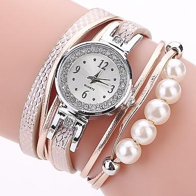 cheap Women's Watches-Women's Bracelet Watch Simulated Diamond Watch Diamond Watch Quartz Quilted PU Leather Black / White / Blue Imitation Diamond Analog Ladies Casual Bohemian Fashion - Orange Blue Pink One Year Battery