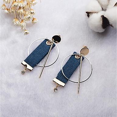 Damskie Kolczyki wiszące Kolczyki koła Vintage Na co dzień Modny Słodkie Koreański Tkanina Stop Geometric Shape Biżuteria Niebieski Bar