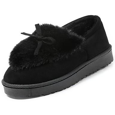 Damen Schuhe Vlies Winter Komfort Loafers & Slip-Ons Runde Zehe Schwarz / Rosa / Burgund