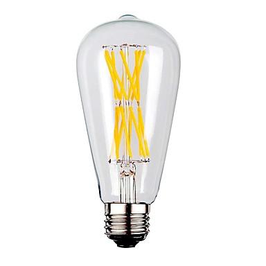 KWB 1pç 9W 1100lm E26 / E27 Lâmpadas de Filamento de LED ST64 12 Contas LED COB Branco Quente 220-240V