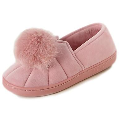 Damskie Obuwie Nubuk Zima Comfort Mokasyny i pantofle Okrągły Toe Black / Gray / Różowy