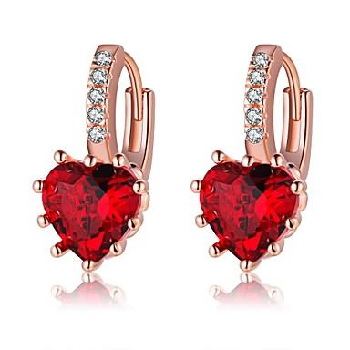 Damskie Kolczyki koła Kryształ Rhinestone Klasyczny Modny Kryształ Imitacja diamentu Stop Serce Biżuteria Gold Codzienny Biżuteria
