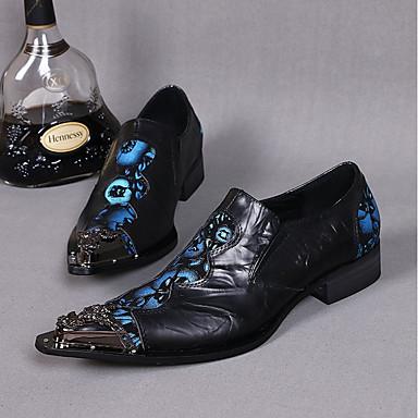 billige Oxfordsko til herrer-Herre Novelty Shoes Lær Vår / Sommer Vintage / Chinoiserie Oxfords Svart / Bryllup / Fest / aften / Nagle / Fest / aften / Komfort Sko