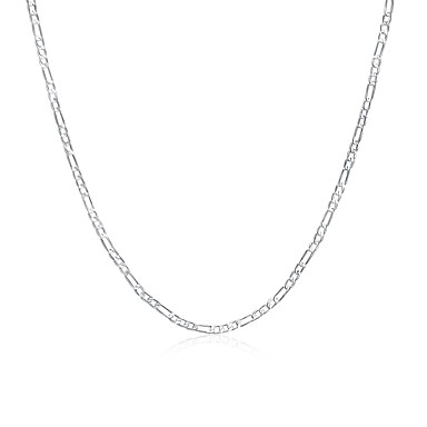 Męskie / Damskie Łańcuszki na szyję - Posrebrzane Moda Srebrny Naszyjniki Biżuteria 1 Na Codzienny