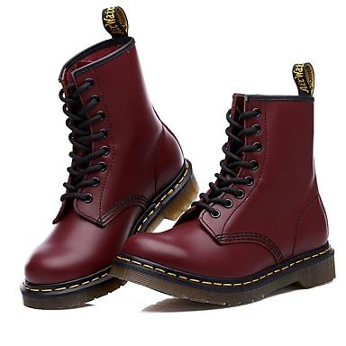 voordelige Dameslaarzen-Dames Laarzen Platte hak PU Kuitlaarzen Comfortabel Lente / Herfst Zwart / Bordeaux / EU37