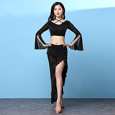 Taniec brzucha Outfits Damskie Szkolenie Nylon Rozporek Fałdki boczne Długi rękaw Wypada Spódnice Top