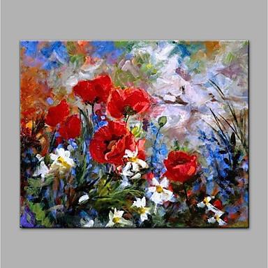 Hang-Malowane obraz olejny Ręcznie malowane - Kwiatowy / Roślinny Nowoczesny Brezentowy / Walcowane płótno