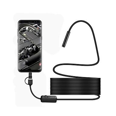 voordelige Microscopen & Endoscopen-3 in 1 usb endoscoop waterdicht ip67 8mm lens 5 m hardwire borescop inspectie camera snake video cam met 6 led voor android pc