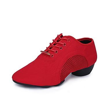 Damskie Buty do tańca nowoczesnego Oxford / Tiul Adidasy / Obcas baleriny Niski obcas Buty do tańca Czarny / Czerwony