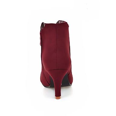 Bottes Rouge Bout Femme Automne Printemps Chaussures la Mode Mariage Bottes Cuir à pointu Noir 06385178 Demi Nubuck Botte Bottine nq1axgXWq