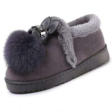 Damen Schuhe Vlies Winter Schneestiefel Stiefel Runde Zehe Schwarz / Grau
