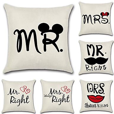 6 szt Cotton / Linen Pokrywa Pillow / Poszewka na poduszkę, Słowa i cytaty / Modny / Litera Retro / Tradycyjny / Classic / Euro