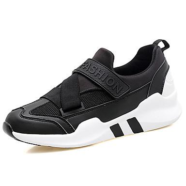 Damen Schuhe PVC Leder / Tüll Frühling / Herbst Komfort Sneakers Rennen Spitze Zehe / Runde Zehe Klettverschluss / Klett Schwarz / Grau / Rosa