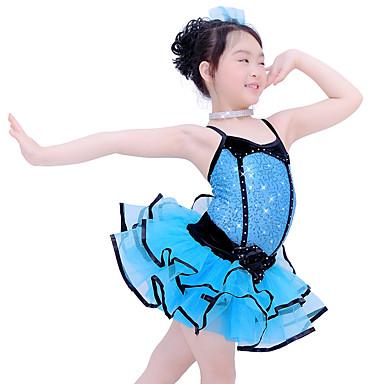 Tanzkleidung für Kinder Austattungen Kinder Aufführung Elasthan Organza Samt Pailletten Pailetten Ärmellos Niedrig Röcke Gymnastikanzug