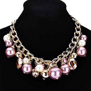 Damskie Kryształ Pearl imitacja Kryształ Imitacja pereł Naszyjniki z wisiorkami - Kryształ Imitacja pereł Modny Circle Shape Naszyjniki