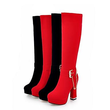 Talon Mi Hiver Bout Mariage Nouveauté haut 06407073 Femme Confort Rouge Daim Bottes mollet Noir pointu Chaussures Bottes Automne n4qnxw70z