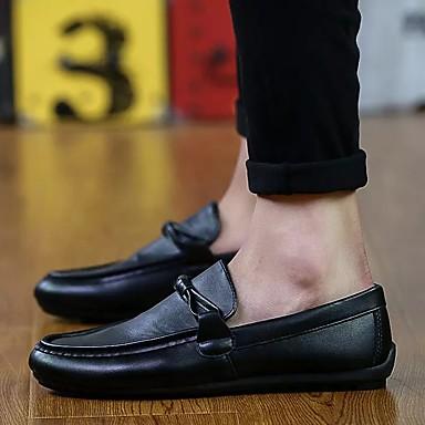 Masculino sapatos Couro Ecológico Primavera Outono Conforto Mocassins e Slip-Ons Caminhada Para Casual Marron Branco Preto Vermelho Escuro