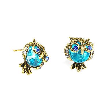 Damskie Kolczyki na sztyft Rhinestone Vintage Urocza Modny Stop Sowa Biżuteria Niebieski Urodziny Prezent Ceremonia Party Wieczór