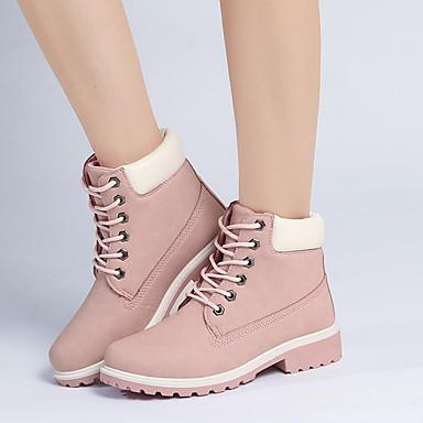 povoljno Ženske cipele-Žene Čizme Niska potpetica Okrugli Toe Vezanje PU Inovativne cipele / Modne čizme / Vojničke čizme Hodanje Jesen / Zima Zelen / Pink / Duga / EU41