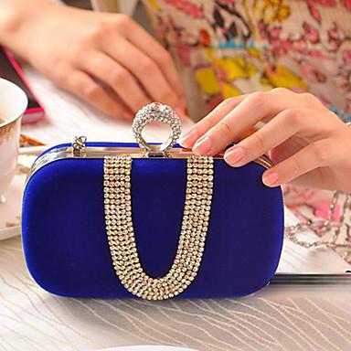 Kadın's Çantalar Polyester Gece Çantası Kristal Detaylar için Düğün Tüm Mevsimler Fuşya / Kırmzı / Mavi