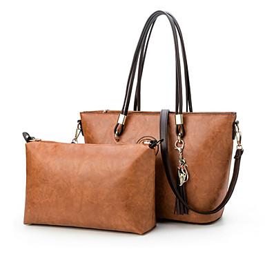 Mulheres Bolsas PU Conjuntos de saco 2 Pcs Purse Set Detalhes em Cristal / Ziper para Casamento / Formal Roxo / Vinho / Khaki