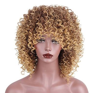 povoljno Perike i ekstenzije-Sintetičke perike Kinky Curly Stil Sa šiškama Capless Perika Strawberry Blonde / Medium Auburn Sintentička kosa Žene Afro-američka perika Smeđa Perika Kratko