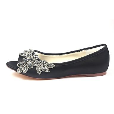 Talon Cristal Elastique Evénement mariage Femme Bout Plat de 06438331 Soirée amp; Eté Confort Chaussures ouvert Chaussures Satin Noir 8Cw7C4q