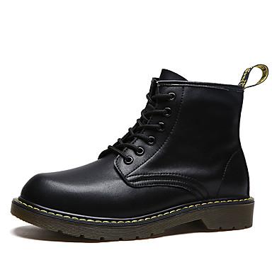 男性用 靴 PUレザー 冬 秋 コンフォートシューズ ブーツ 編み上げ のために カジュアル ブラック レッド ブロンズの