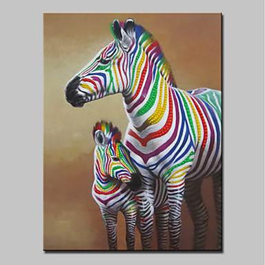 Hang-Malowane obraz olejny Ręcznie malowane - Zwierzęta Zwierzęta / Nowoczesny Brezentowy / Walcowane płótno