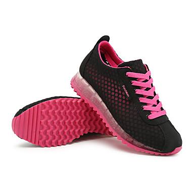 Damen Schuhe Kunststoff Frühling Herbst Komfort Sneakers Flacher Absatz Schnürsenkel für Normal Purpur Fuchsia Graues Grün Blau Rosa