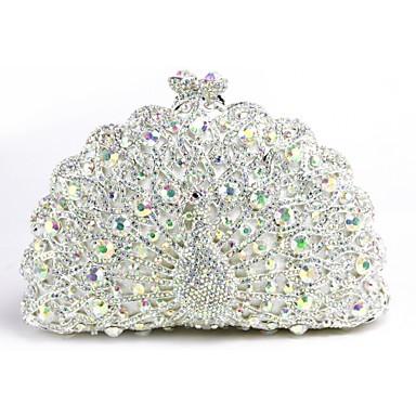 abordables Sacs-Femme Détail Cristal Métal Pochette Sacs de soirée en cristal strass Blanche