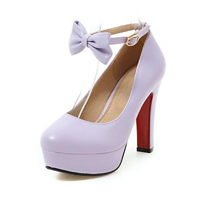d00f3805cedcd ... Violet Noeud Confort Bout à haut Chaussures Talon Femme Automne Rose  Beige rond Talons 06440445 Chaussures ...