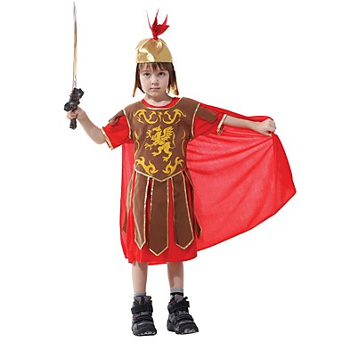 Gladiatorki Starożytna Grecja Kostium Dla dzieci Kostium Czerwono/żółty Postarzane Cosplay Terylene Krótki rękaw Koszulka Do kolan