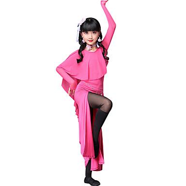 Taniec brzucha Suknie Wydajność Poliester Rozporek Materiały łączone Długi rękaw Wysoki Ubierać