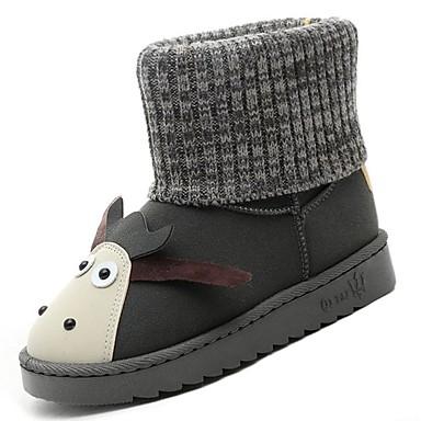 119eff97c82 [$22.99] Women's PU(Polyurethane) Fall / Winter Comfort / Snow Boots Boots  Flat Heel Round Toe Mid-Calf Boots Black / Gray