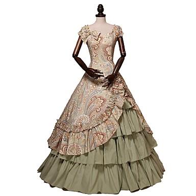 Wiktoriańskie Kostium Damskie Sukienka Kostium imprezowy Tęczowy Postarzane Cosplay 100% składniki naturalne Kostiumy na Halloween / Kwiaty