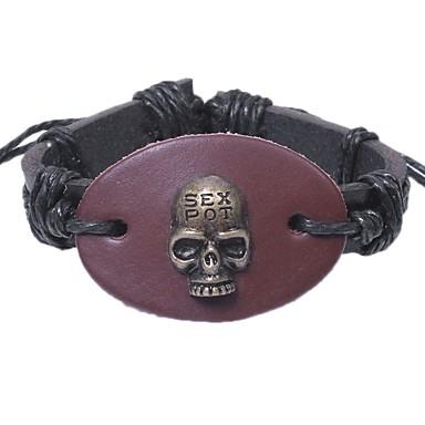 voordelige Herensieraden-Heren Armband Schedel Rock Oversized Leder Armband sieraden Zwart / Geel / Bruin Voor Lahja Uitgaan