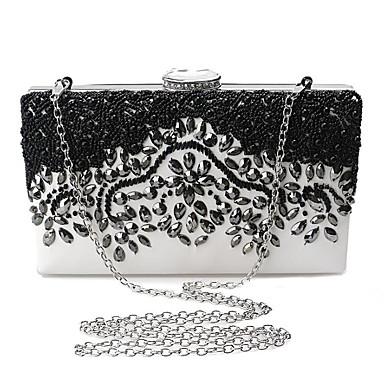 billige Vesker-Dame Krystalldetaljer / Broderi polyester / Metall Clutchveske Rhinestone Crystal Evening Bags Svart