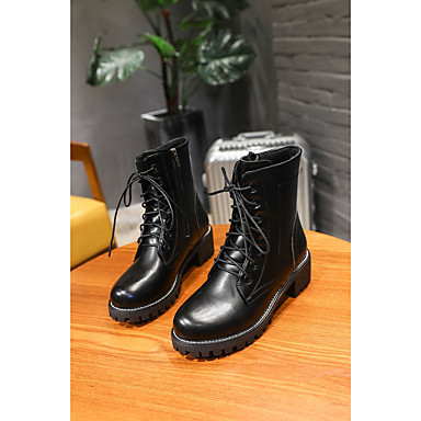 06430454 de Botas Mitad Dedo de PU Confort Mujer Tacón Moda Negro Gemelo Zapatos Otoño Botas Invierno Cuadrado redondo FTYq8