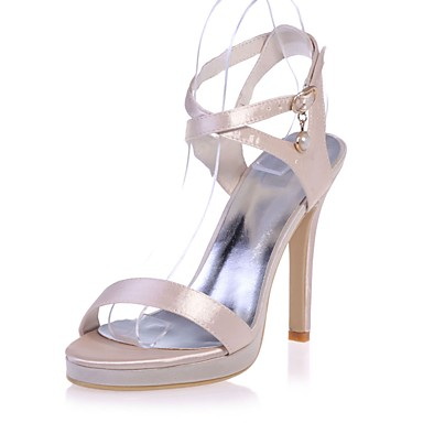 Chaussures Femme Eté 06421717 Champagne ouvert Ivoire Boucle Printemps Bout Talon Basique Aiguille Satin Rose Sandales Escarpin awqqdt