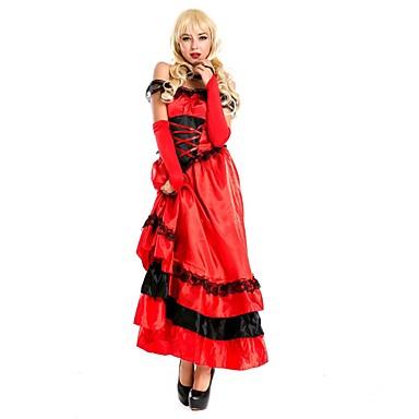 Sweet Lolita Vintage Średniowieczne Damskie Sukienki Cosplay Czerwony Koszulka damska na ramiączkach Bez rękawów Do kostki Midi
