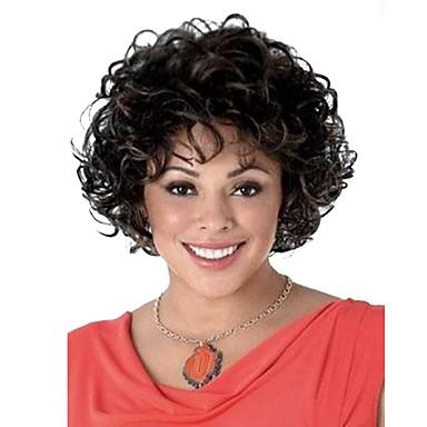 halpa Synteettiset peruukit ilmanmyssyä-Synteettiset peruukit Kihara Tyyli Suojuksettomat Peruukki Musta Musta Musta / tumma Auburn Synteettiset hiukset Naisten Raidoitetut hiukset Musta Peruukki Lyhyt StrongBeauty Luonnollinen peruukki