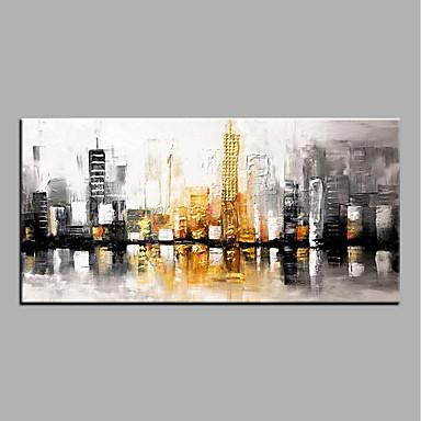 Hang-Malowane obraz olejny Ręcznie malowane - Streszczenie Nowoczesny Brezentowy / Walcowane płótno