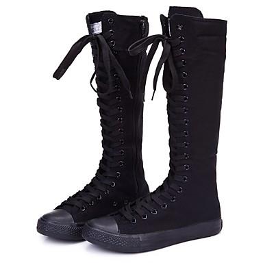 billige SHENN-Dame Støvler Flat hæl Rund Tå / Lukket Tå Gummi Knehøye støvler Komfort / Trendy støvler Sommer / Høst Hvit / Svart / EU42
