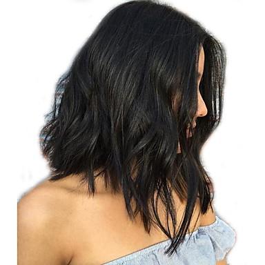 povoljno Perike i ekstenzije-Ljudska kosa Perika pune čipke bez ljepila Full Lace Perika Bob frizura stil Brazilska kosa Valovita kosa Prirodne kovrče Perika 130% Gustoća kose s dječjom kosom Izbijeljeni čvorovi Žene Kratko