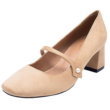 à Printemps 06448429 Tissu Bout Basique Imitation Bottier Talons Escarpin Chaussures Perle Noir Automne Kaki rond Femme Chaussures Talon w0TEwF