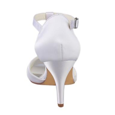 Soirée amp; Chaussures Aiguille Evénement Elastique 06438378 Talon de ouvert Satin Eté mariage Escarpin Cristal Basique Femme Bout Chaussures Blanc WqYZavTa1