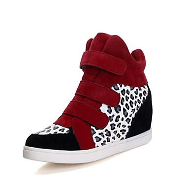 Pentru femei Pantofi Imitație de Piele Primăvară Toamnă Toc Platformă Bandă Magică Combinată pentru Casual În aer liber Negru și Alb
