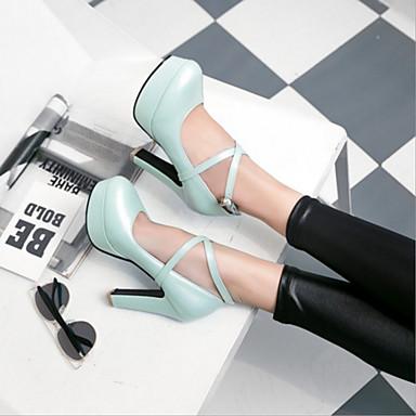 Bottier Bout Automne rond Boucle à Beige Bleu Chaussures Confort Femme Talon Printemps Talons Polyuréthane Chaussures 06425657 Nouveauté gvFRwP7q